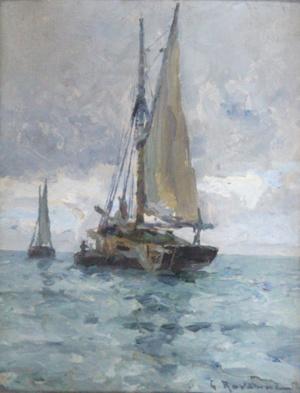 197 Léon Gustave Ravanne Le Voilier, Adjugé 2 400 euros