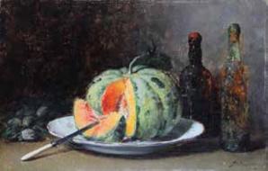 47 Nature morte aux melons et aux bouteilles FOUACE Guillaume Adjugé 15 650 euros