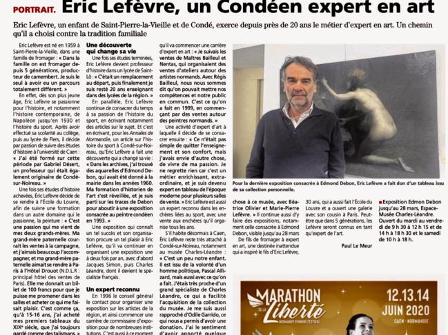 Article de L'Orne Combattante du jeudi 23 janvier 2020 «Eric Lefèvre, un Condéen expert en art»