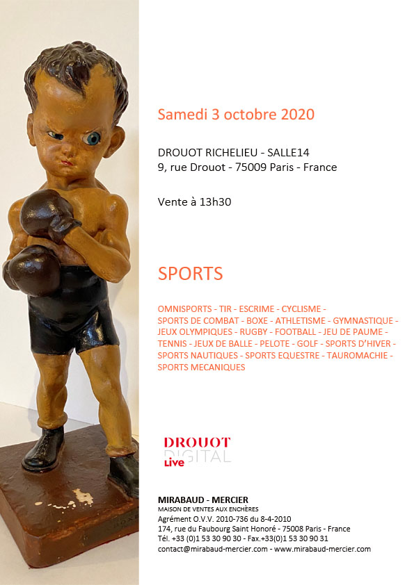 "VENTE AUX ENCHERES ""SPORTS"" À DROUOT LE 3 OCTOBRE 2020, À 13h30"
