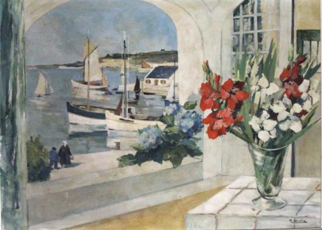 Raymond WINTZ (184-1956)  - Le port de Belon (Morbihan); Bretagne - Huile sur toile signée en bas à droite - 73 x 100 cm