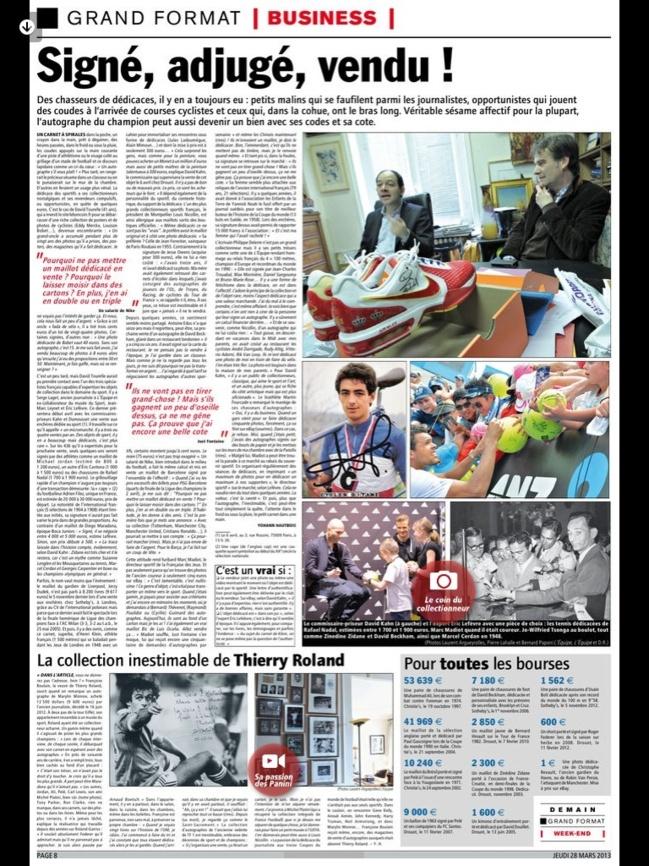Journal l'Equipe du 28 mars 2013 :
