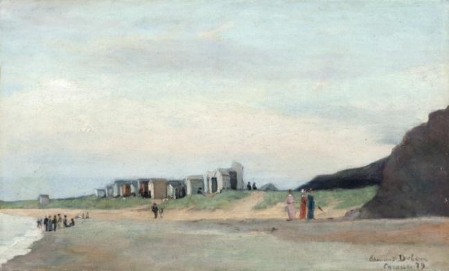 Edmond Debon (1846 à Condé-sur-Noireau - 1922), la plage de Carolles, 1879 Huile sur toile, collection particulière