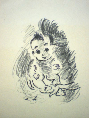 André Hambourg (1909-1991) - Le petit pied dans la main de maman