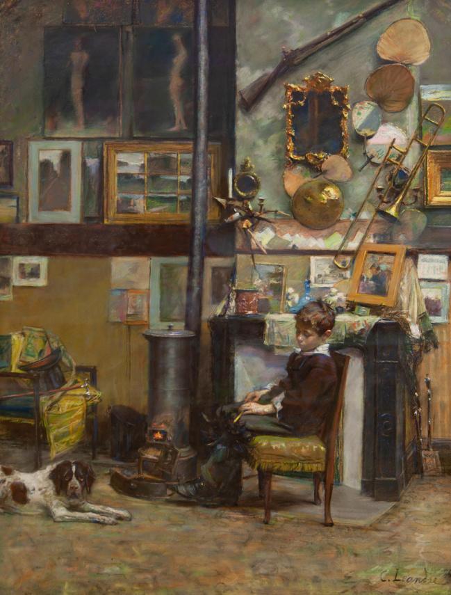 illustration : l'intérieur de l'atelier de l'artiste – pastel – collection privée