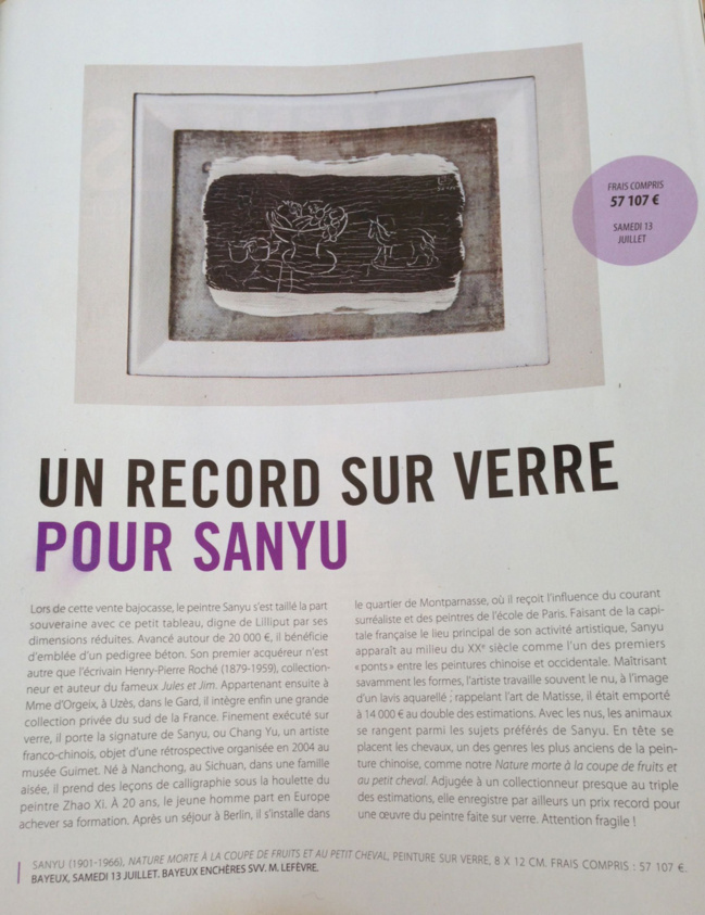Vu dans la Gazette Drouot : un record sur verre pour sanyu
