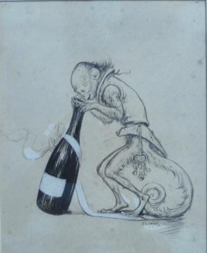 Charles Léandre - Zaza et la bouteille de champagne