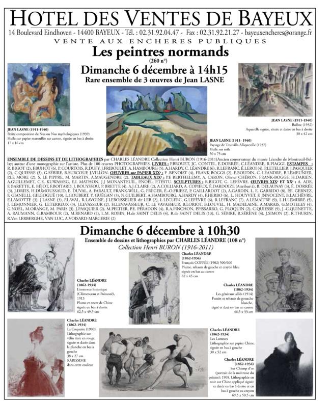 Vu dans la Gazette Drouot : annonce de la vente aux enchères Les peintres normands le dimanche 6 décembre 2015