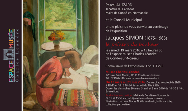 Exposition Jacques Simon : Musée Charles LÉANDRE Condé 12 mars - 21 mai 2016