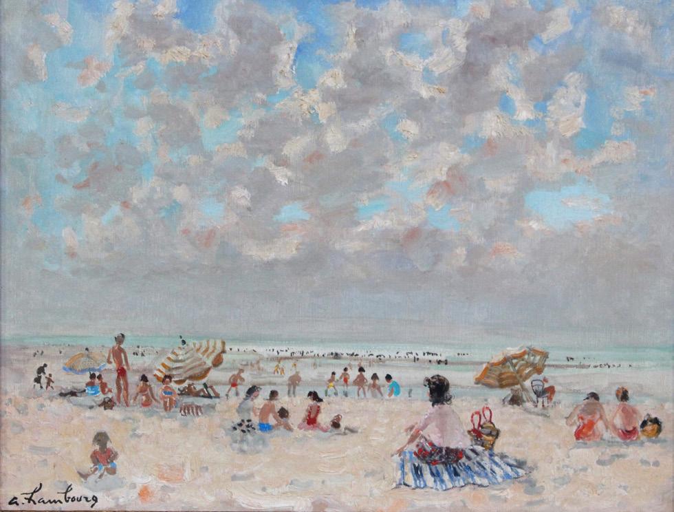 140 Ciel Pommelé sur la plage André HAMBOURG, Adjugé 5 200 euros