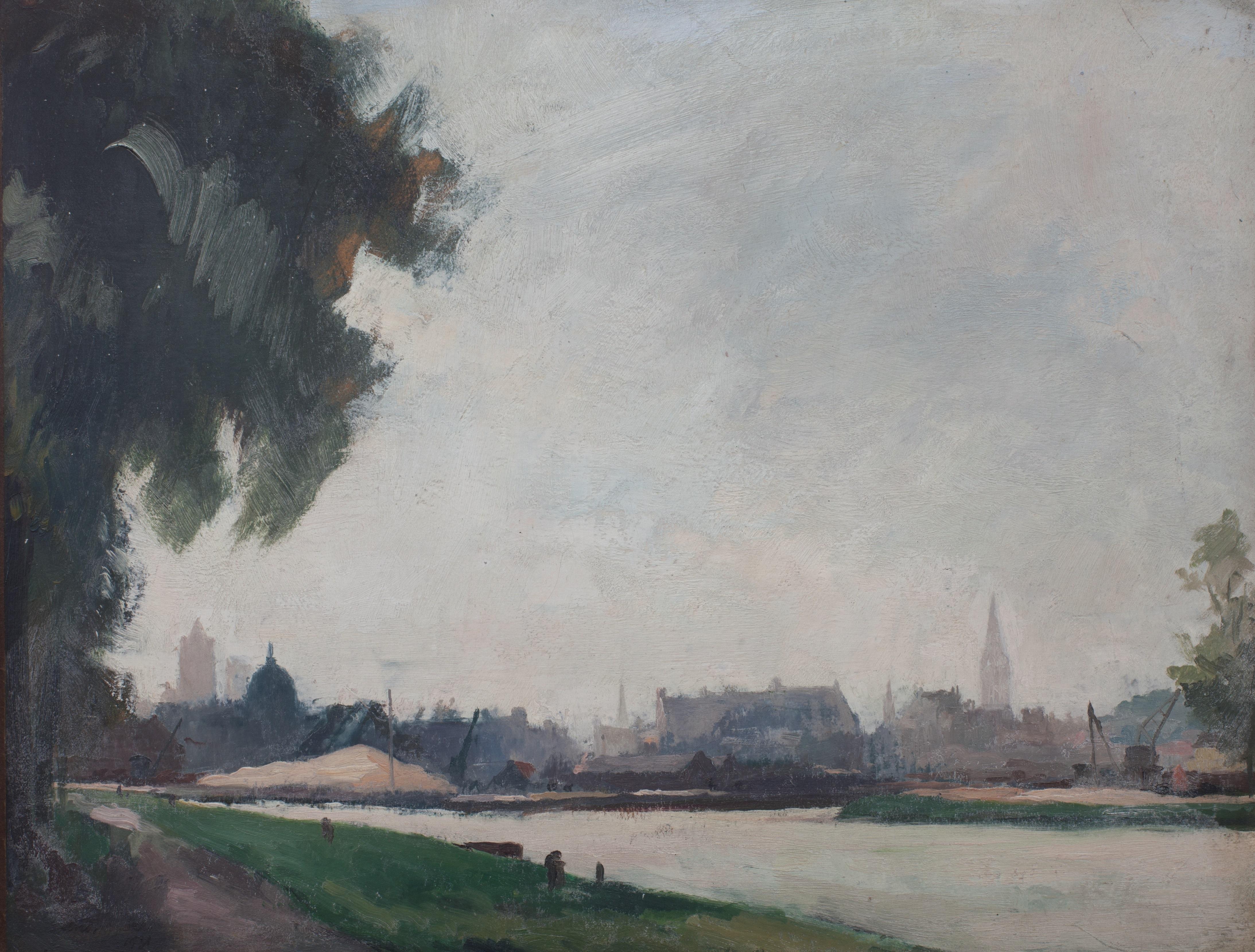 """André MARRE """"Vue de Caen, le port Saint-Jean et Saint-Pierre; 1931"""" Musée des Beaux-arts, Ville de Bernay, cliché Editions Point de vues"""