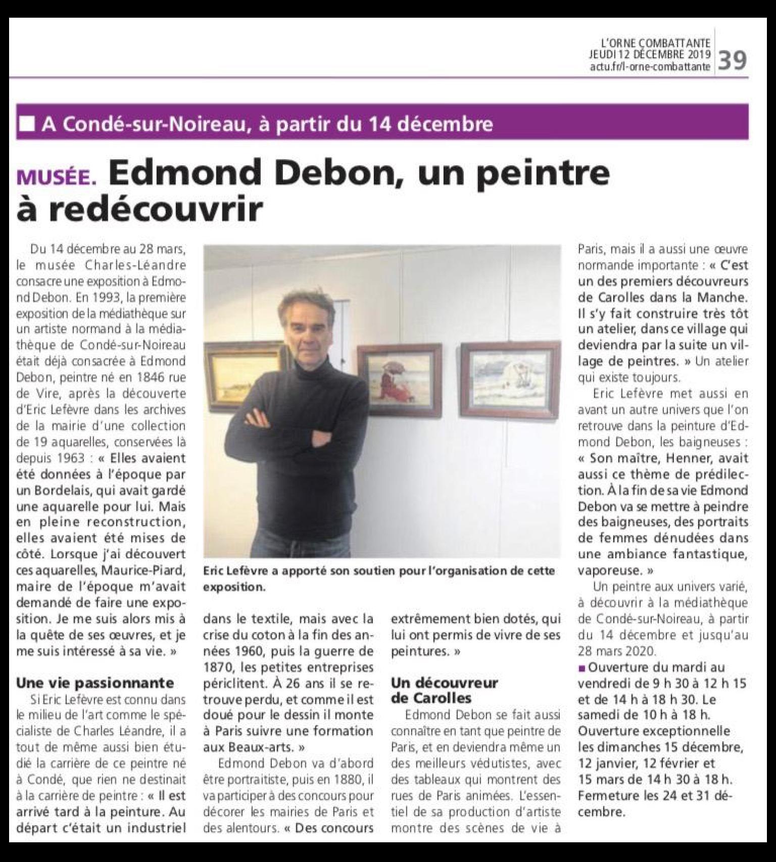 Article de l'Orne Combattante du jeudi 12 décembre 2019 «Edmond DEBON, un peintre à redécouvrir»