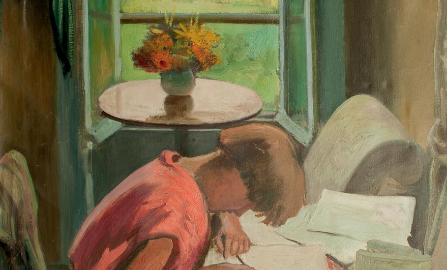 Détail de Jacques SIMON (1875-1965), Noëlle au dessin, huile sur toile, collection particulière