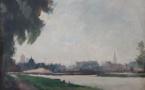 """André MARE """"Vue de Caen, le port Saint-Jean et Saint-Pierre; 1931"""" , Musée des Beaux-arts, Ville de Bernay, cliché Editions Point de vues"""