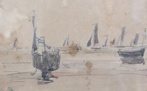 46 Barques de pêcheurs Eugène BOUDIN, Adjugé 1000 euros